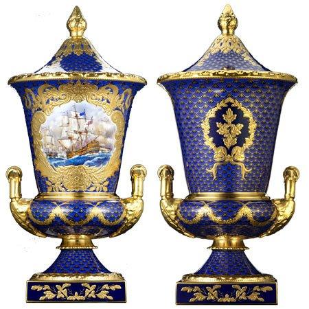 LyntonFBC-Luxury-Tableware-Fine-Bone-China-Ornamental-Campana-Vase-royal-blue-naval
