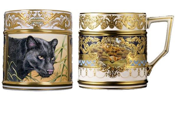 LyntonFBC-Luxury-Tableware-Fine-Bone-China-Ornamental-Porter-Mug-black-panther-and-fox